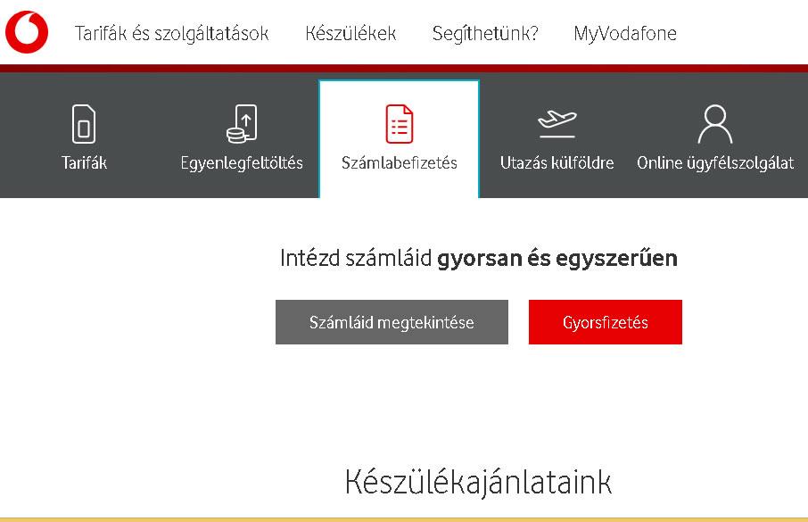 Vodafone e számla fizetésének első lépése