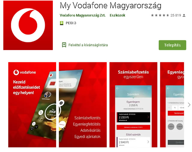 My Vodafone mobil alkalmazással a számlát is kifizethetjük