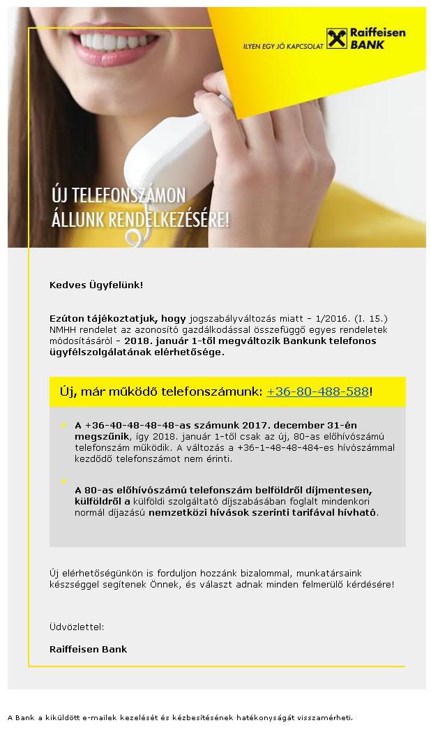 Raiffeisen Bank új telefonszámai 2018.01.01.-től